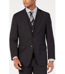 perry ellis men's portfolio slim-fit stretch black solid suit jacket