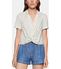 bcbgeneration cotton striped twist-front shirt
