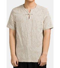 magliette allentate casuali di colore solido di progettazione del bottone delle tees della tela di cotone di stile cinese degli uomini