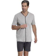 pijama recco aberto de malha algodão cinza