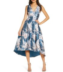women's eliza j metallic floral jacquard high/low dress