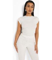 geribbeld getailleerd t-shirt met kapmouwen en crewneck, white