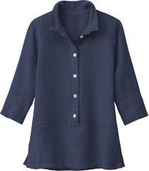 lichte linnen blouse, indigo 46