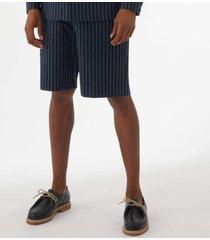 maison kitsune stripes seersucker stan bermuda shorts  - navy cm01405ww1101