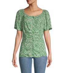 beach lunch lounge women's etta floral top - block floral - size xs