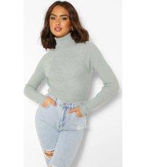 rib knit roll neck sweater, mint
