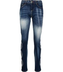 philipp plein braided-crystal slim-fit jeans - blue
