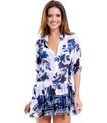 vestido chemise 101 resort wear crepe estampado floral azul