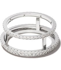 de beers 18kt white gold the horizon full pavé diamond ring