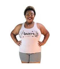 "pijama feminino flowers"" rosa pó com listras pretas plus size"""