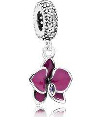 charm de prata pendente brilhante flor orquídea