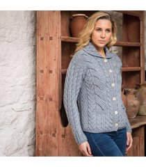 the corrib cable cardigan gray l