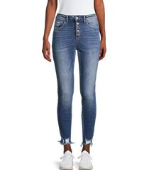 flying monkey women's high-rise button-fly jeans - blue - size 27 (4)