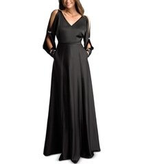 basix black label cold-shoulder satin gown