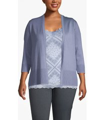 lane bryant women's rib-trim cardigan 26/28 stonewash blue