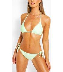 mix & match bikini broekje met zijstrikjes, muntgroen