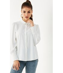yoins white front button classic collar smocked blouse