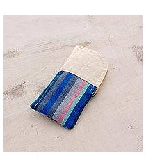 cotton eyeglasses case, 'lake stripes' (guatemala)