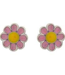 brinco narcizza semijoias  florzinha rosa e amarelo prata 925