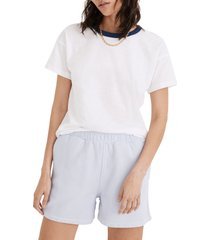 women's madewell whisper cotton rib crewneck ringer t-shirt, size small - blue