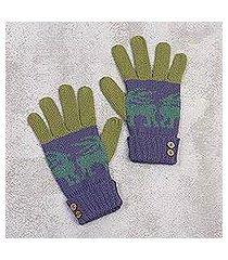 alpaca blend gloves, 'inca landscape' (peru)