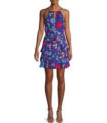 floral ruffle halter mini dress
