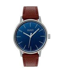 relógio hugo boss masculino couro marrom - 1530076