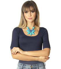 blusa feminina meia manga azul marinho decote redondo