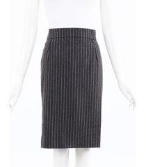 oscar de la renta striped wool knee length skirt