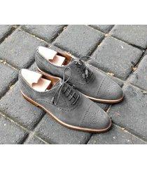 handmade oxford suede leather shoes, men gray denim dress formal shoes for men's