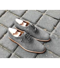 handmade oxford suede leather shoes, men gray denim dress formal shoes for men's