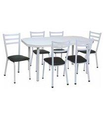 conjunto de mesa de jantar com 6 cadeiras beatriz corino preto e branco