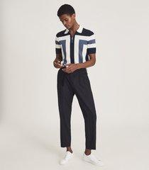reiss breaker - colour block zip neck polo shirt in blue, mens, size xxl
