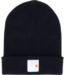 a.p.c. x carhartt wip ribbed knit logo hat - blue