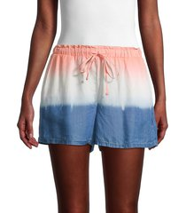 pure navy women's dip-dyed drawstring shorts - white blue - size l