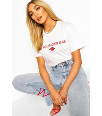 be your own bae slogan t-shirt, white