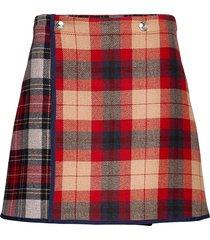 icon wool check mini skirt kort kjol röd tommy hilfiger