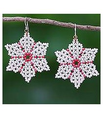 beaded dangle earrings, 'unique creation in pink' (thailand)