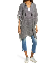 women's treasure & bond twill weave poncho, size one size - black