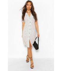 blouse style midi jurk met stippen, wit