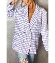 dogtooth woven double breasted boxy blazer, lilac