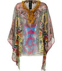 etro sheer tassel-embellished poncho - yellow