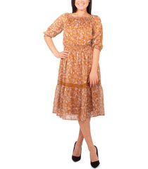 ny collection petite crochet-trim peasant dress