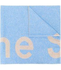acne studios toronty logo scarf - blue