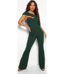 aysmetric cut out wide leg jumpsuit, green