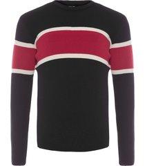 blusa masculina tricot over riva stripes - preto