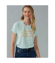 amaro feminino t-shirt sonhar, planejar e realizar, verde claro