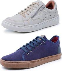 kit 2 sapatenis sandalo soft off white e levit azul