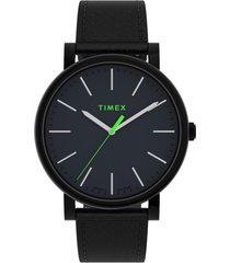 timex originals leather strap watch, 42mm