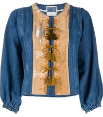 forte forte tassel-detail denim jacket - blue